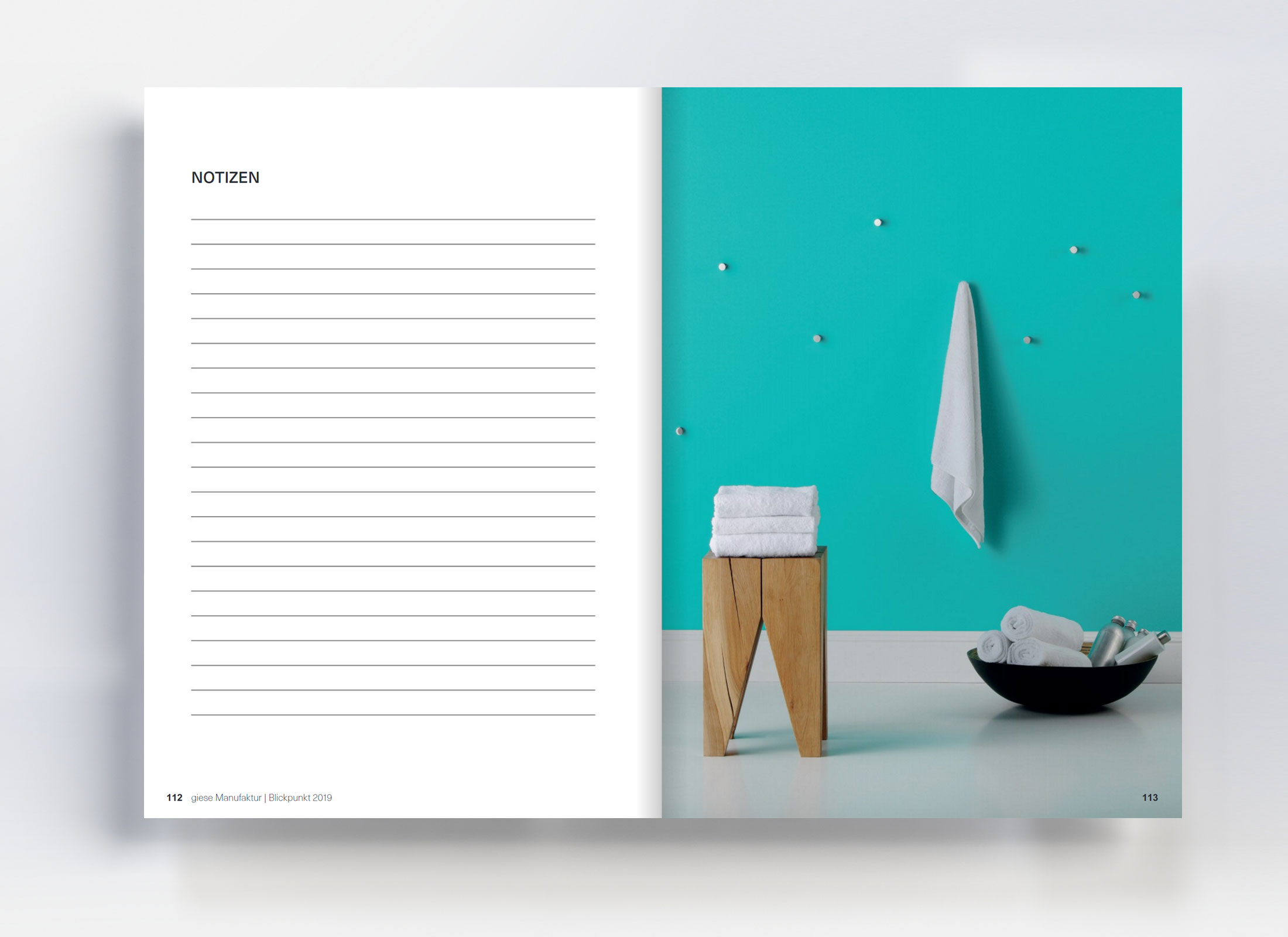 Grafikdesign Katalog Layout und Bildentwurf Blickpunkt Giese Manufaktur von freiraum id